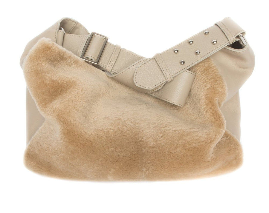 Manhattan Crossbody Messenger in Taupe w Taupe Shearling - Canvas & Hyde NYC