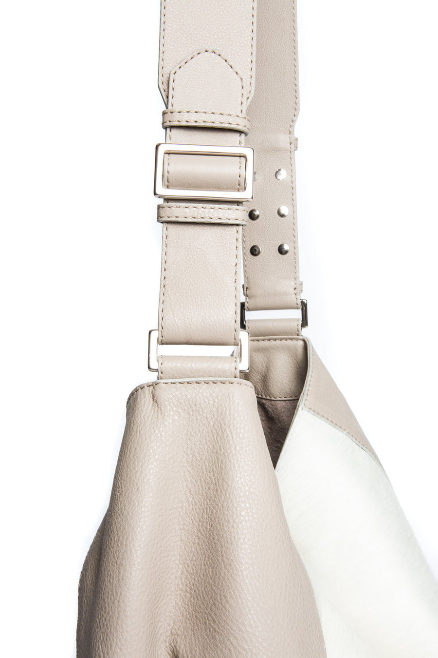 Manhattan Crossbody Messenger in Taupe w Ivory - Canvas & Hyde NYC