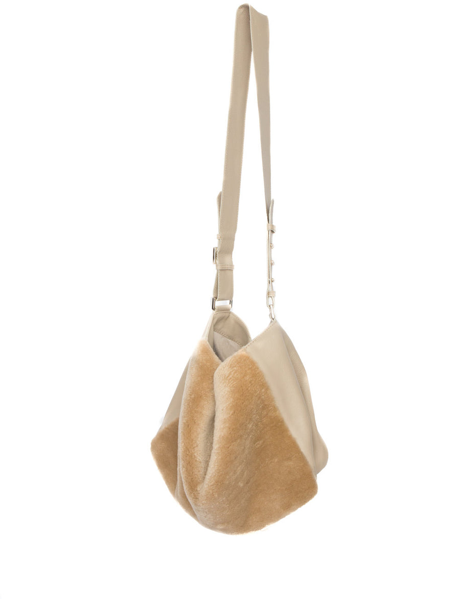 Manhattan Crossbody Messenger in Taupe w Taupe Shearling