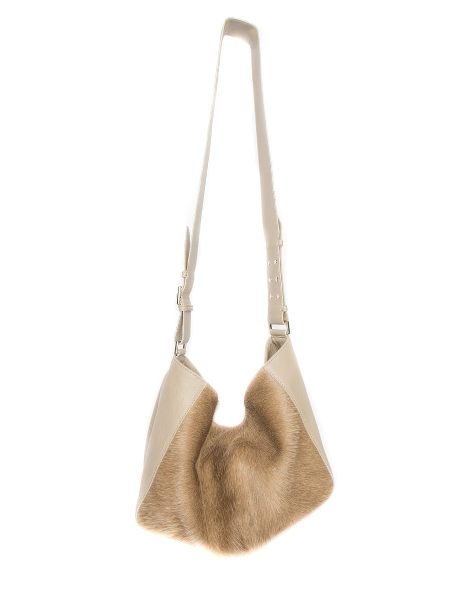 Manhattan Crossbody Messenger in Taupe w Champagne