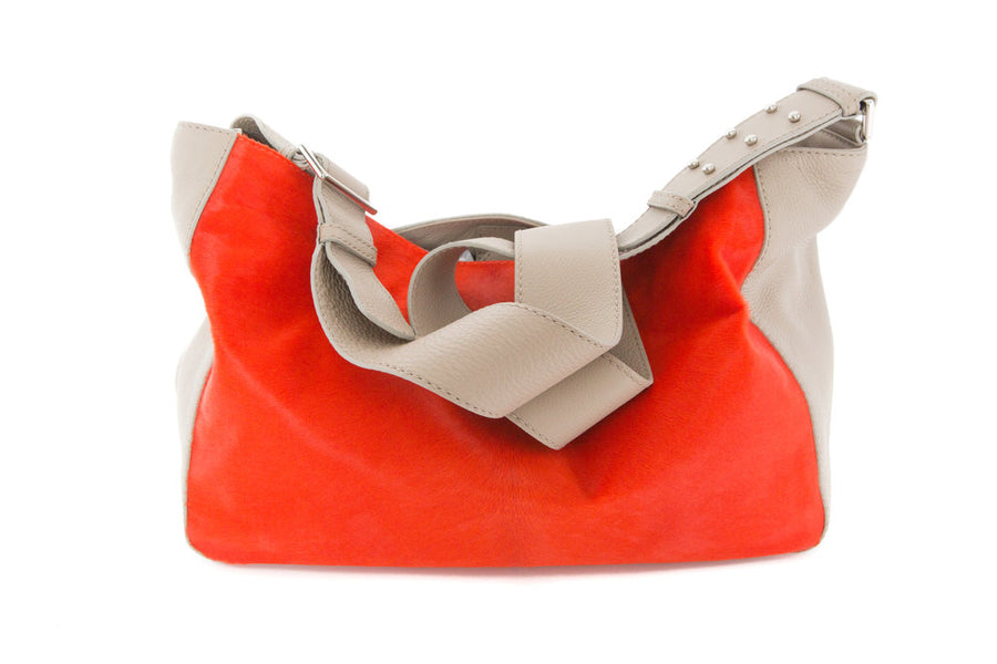 Manhattan Crossbody Messenger in Taupe w  Tangerine - Canvas & Hyde NYC