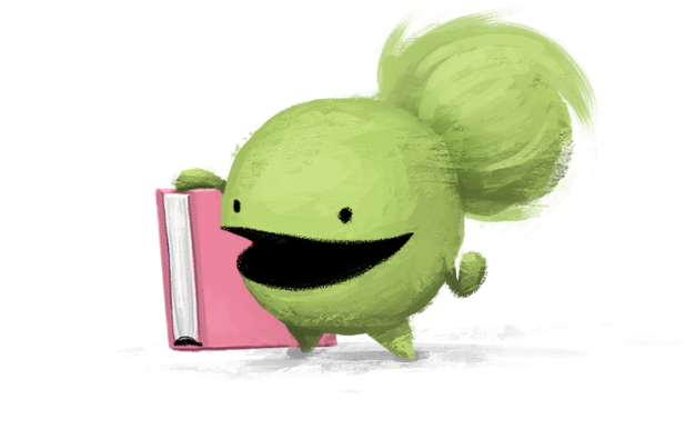 The character Iz holding a book and smiling
