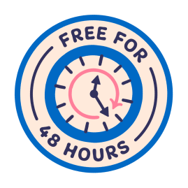 A sticker depicting the words 'Free for 48 hours' around a clock