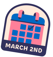 A sticker with the text March 2nd