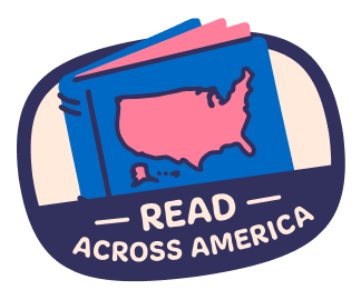 A sticker with the text Read Across America