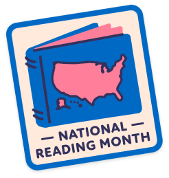 A sticker with the text National Reading Month