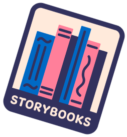 A sticker with the text Storybooks
