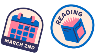 Stickers with text reading