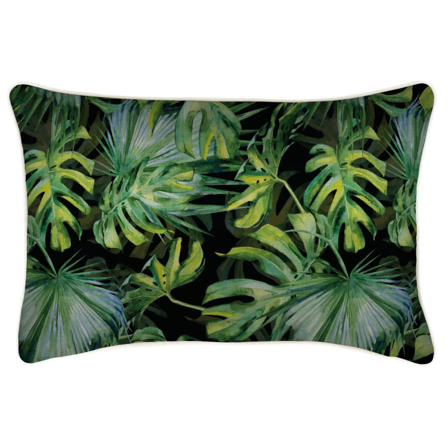 Indoor Outdoor Cushion Cover-With Piping-Botanical Black-35cm x 50cm