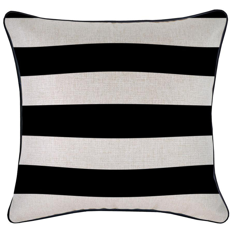 Cushion Cover-With Black Piping-Deck Stripe Black / Natural Base-45cm x 45cm
