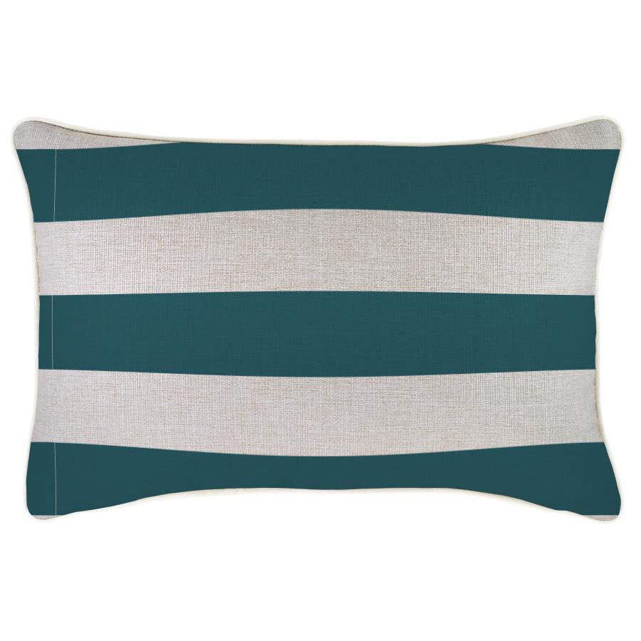 Cushion Cover-With Piping-Deck Stripe Teal / Natural Base-35cm x 50cm