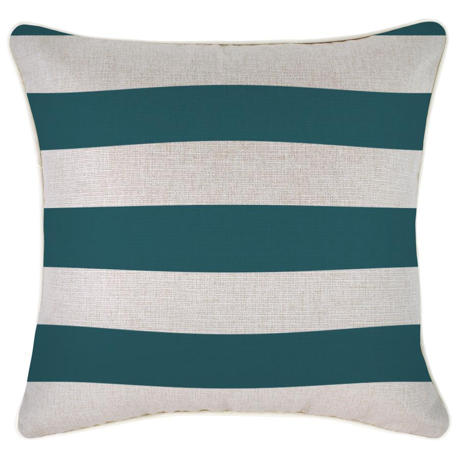 Cushion Cover-With Piping-Deck Stripe Teal / Natural Base-45cm x 45cm