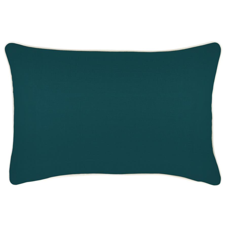 Cushion Cover-With Piping-Solid Teal-35cm x 50cm
