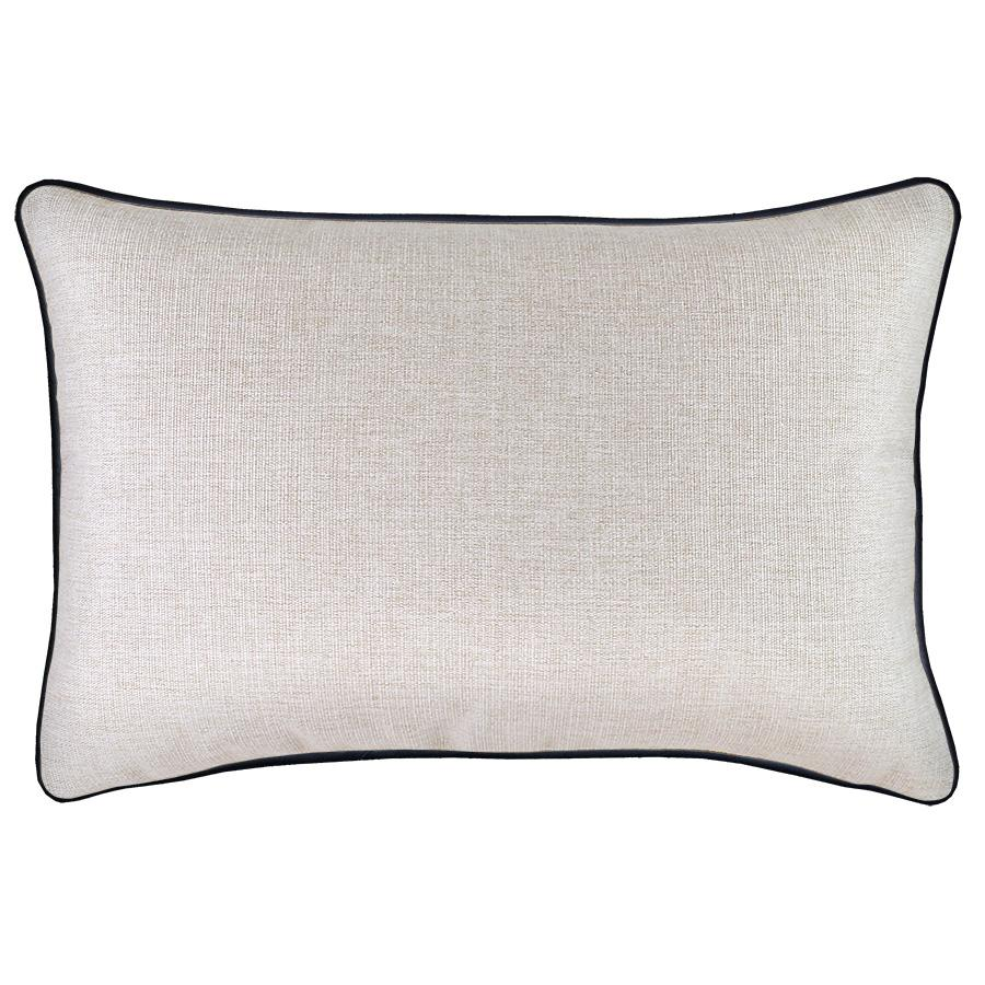 Cushion Cover-With Black Piping-Solid Natural-35cm x 50cm