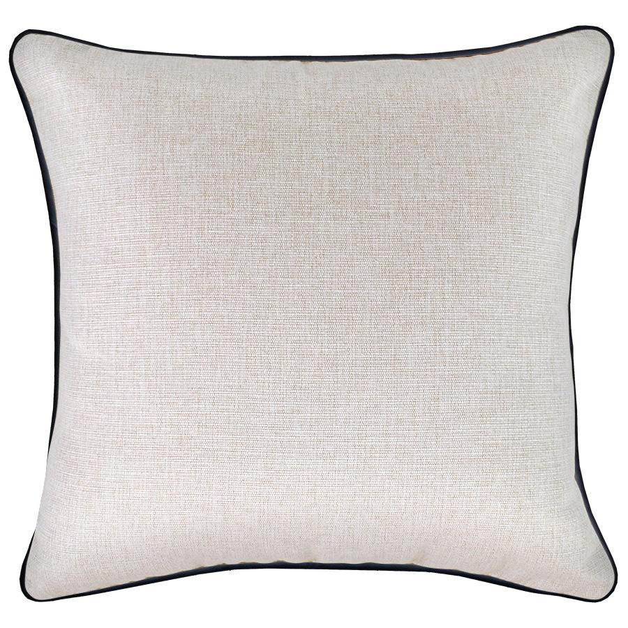 Cushion Cover-With Black Piping-Solid Natural-45cm x 45cm