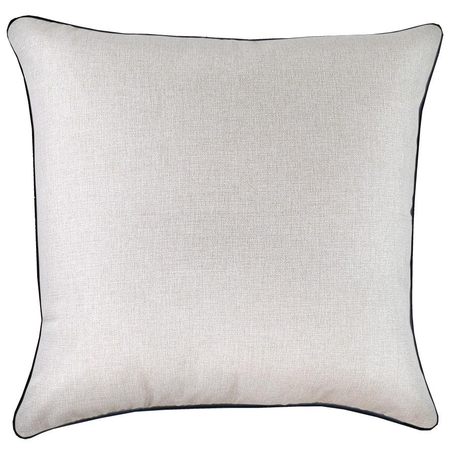 Cushion Cover-With Black Piping-Solid Natural-60cm x 60cm