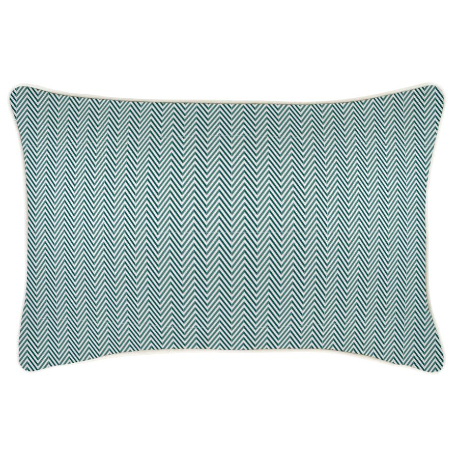 Cushion Cover-With Piping-Herringbone Teal-35cm x 50cm