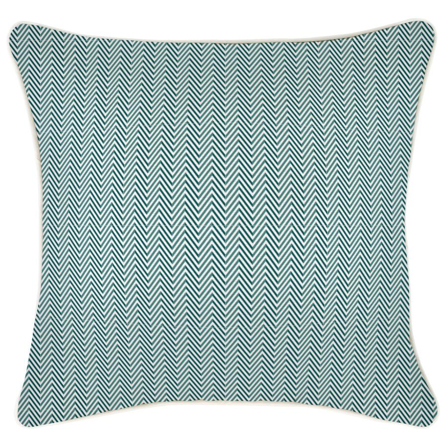 Cushion Cover-With Piping-Herringbone Teal-45cm x 45cm