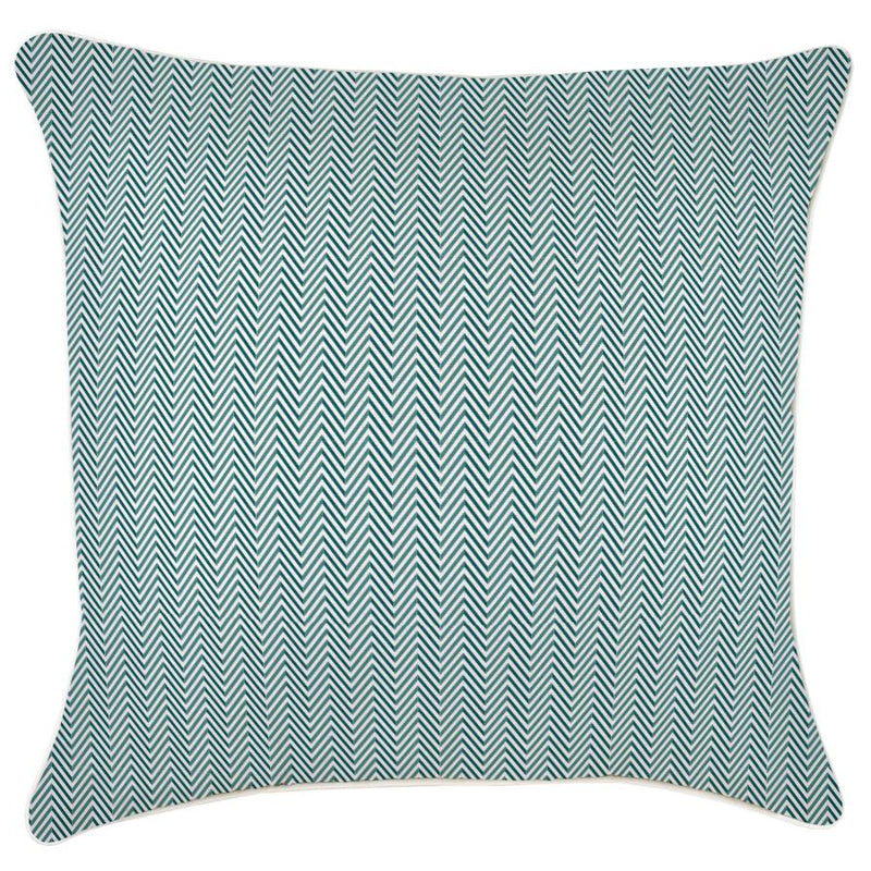 Cushion Cover-With Piping-Herringbone Teal-60cm x 60cm