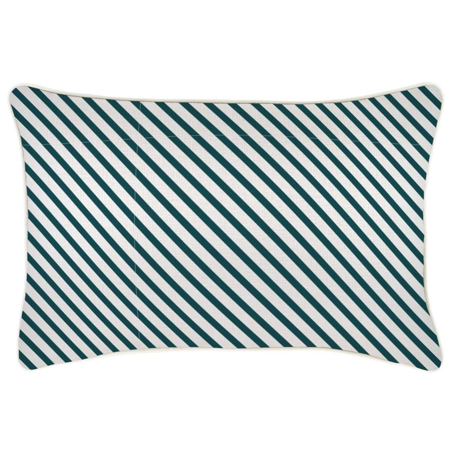 Cushion Cover-With Piping-Side Stripe Teal-35cm x 50cm