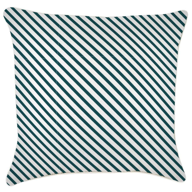 Cushion Cover-With Piping-Side Stripe Teal-60cm x 60cm