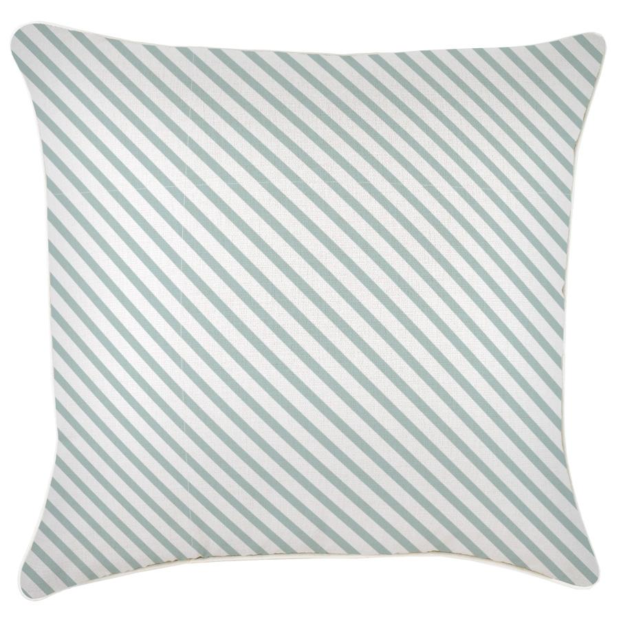Cushion Cover-With Piping-Side Stripe Seafoam-60cm x 60cm