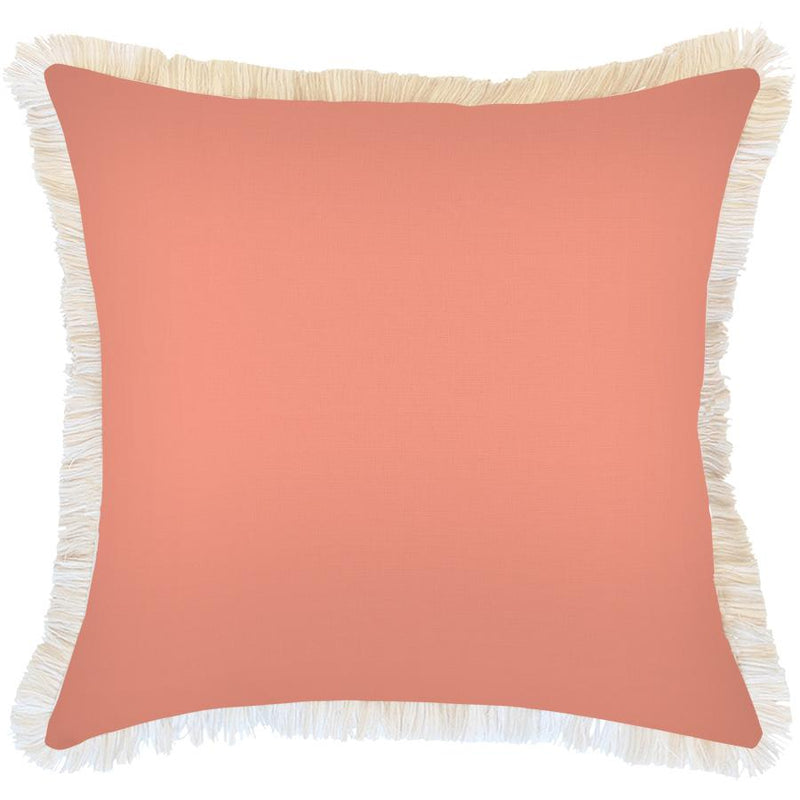 Cushion Cover-Coastal Fringe Natural-Peach-60cm x 60cm