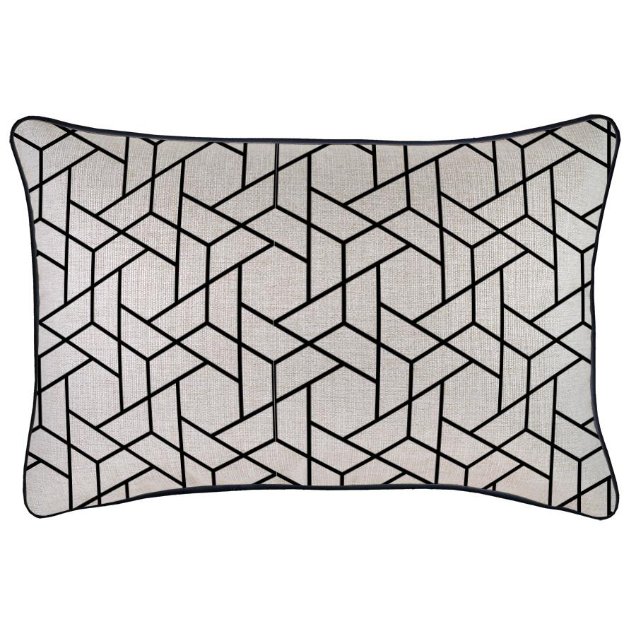 Cushion Cover-With Black Piping-Milan Black-35cm x 50cm