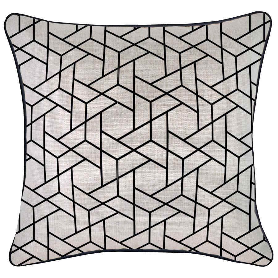 Cushion Cover-With Black Piping-Milan Black-45cm x 45cm