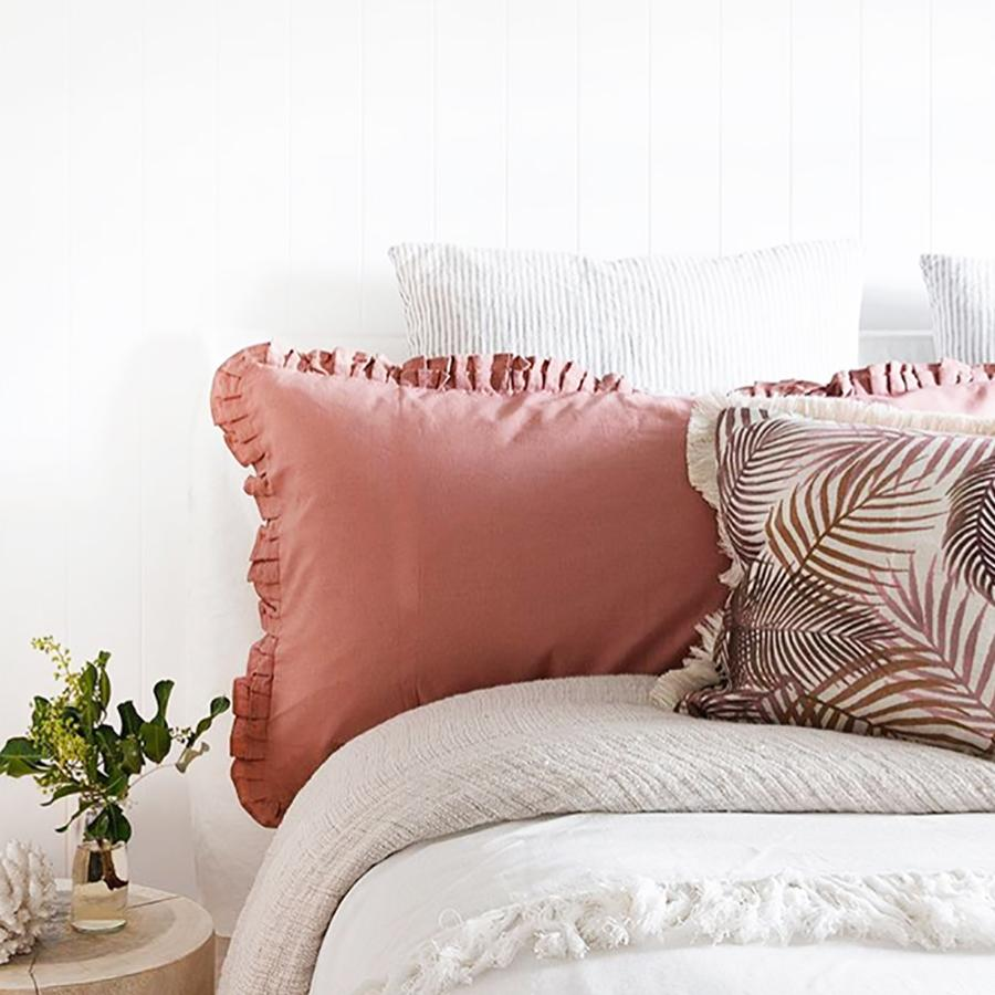 Cushion Cover-Coastal Fringe-Seminyak Rose-35cm x 50cm