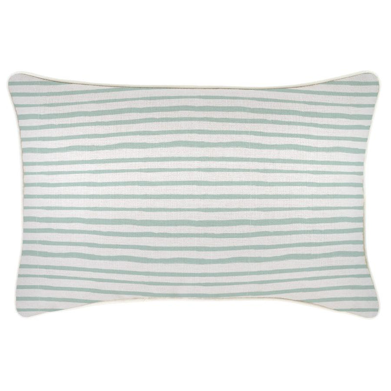 Cushion Cover-With Piping-Paint Stripes Pale Mint-35cm x 50cm
