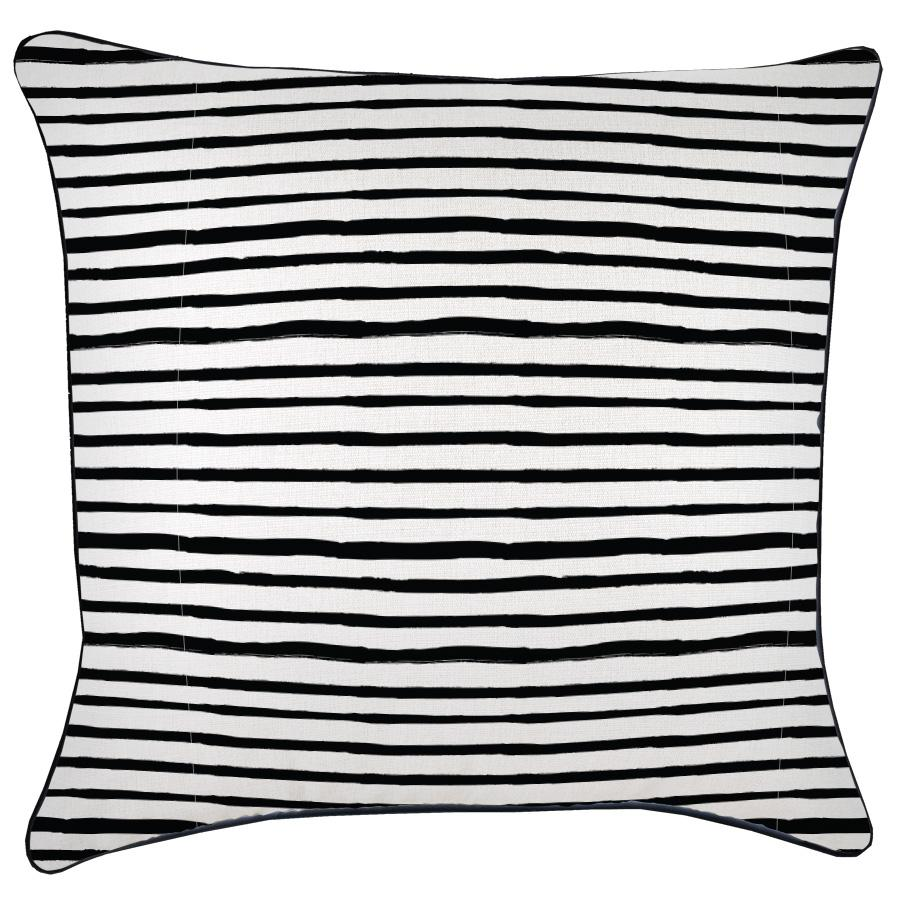 Cushion Cover-With Black Piping-Paint Stripes-60cm x 60cm
