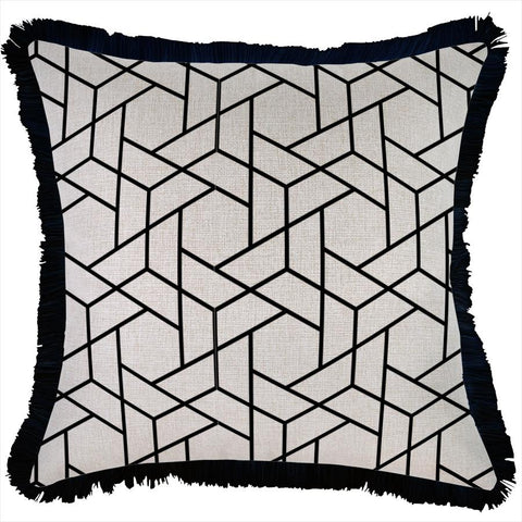 Cushion Cover-Coastal Fringe Black-Lunar-45cm x 45cm
