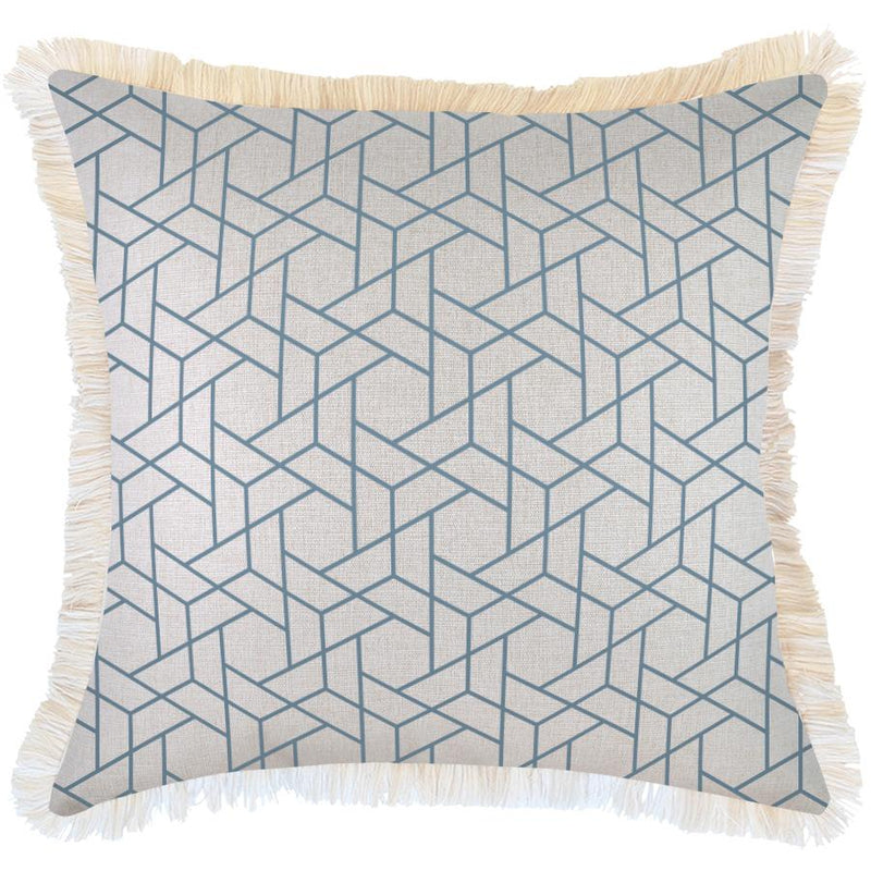Cushion Cover-Coastal Fringe-Milan Blue-60cm x 60cm