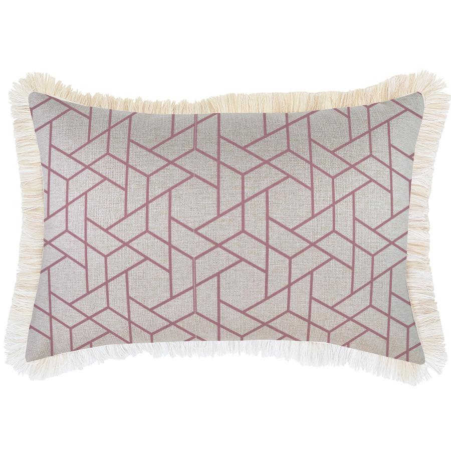 Cushion Cover-Coastal Fringe-Milan Rose-35cm x 50cm