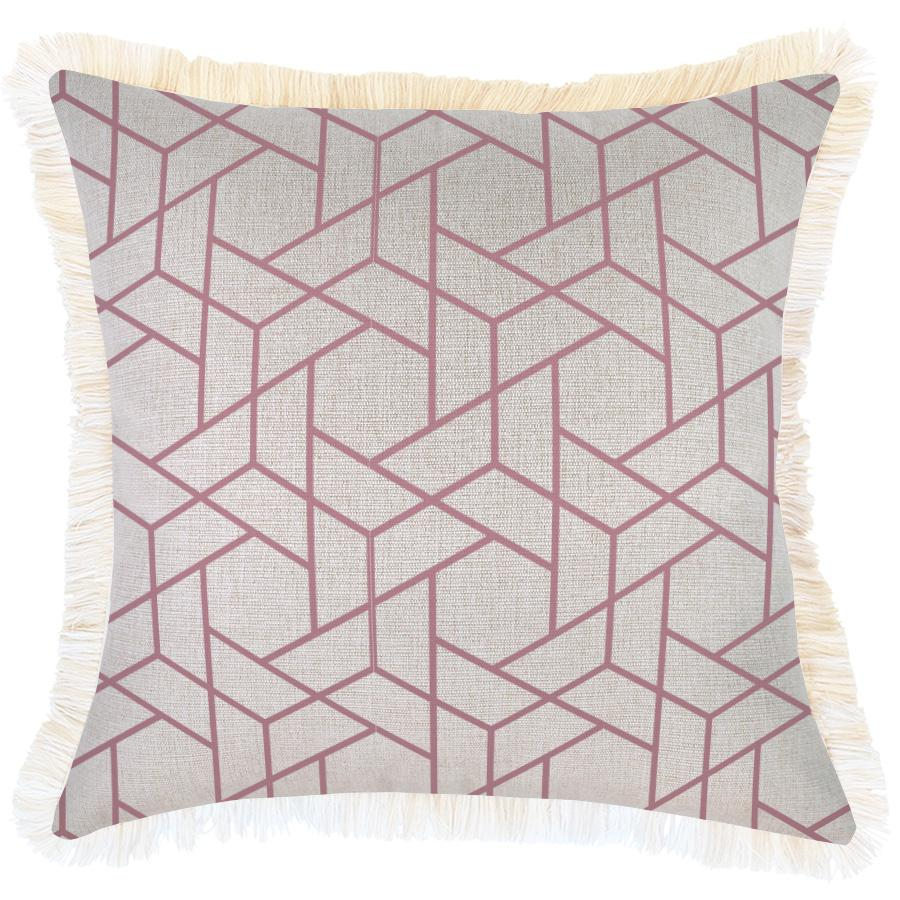 Cushion Cover-Coastal Fringe-Milan Rose-45cm x 45cm