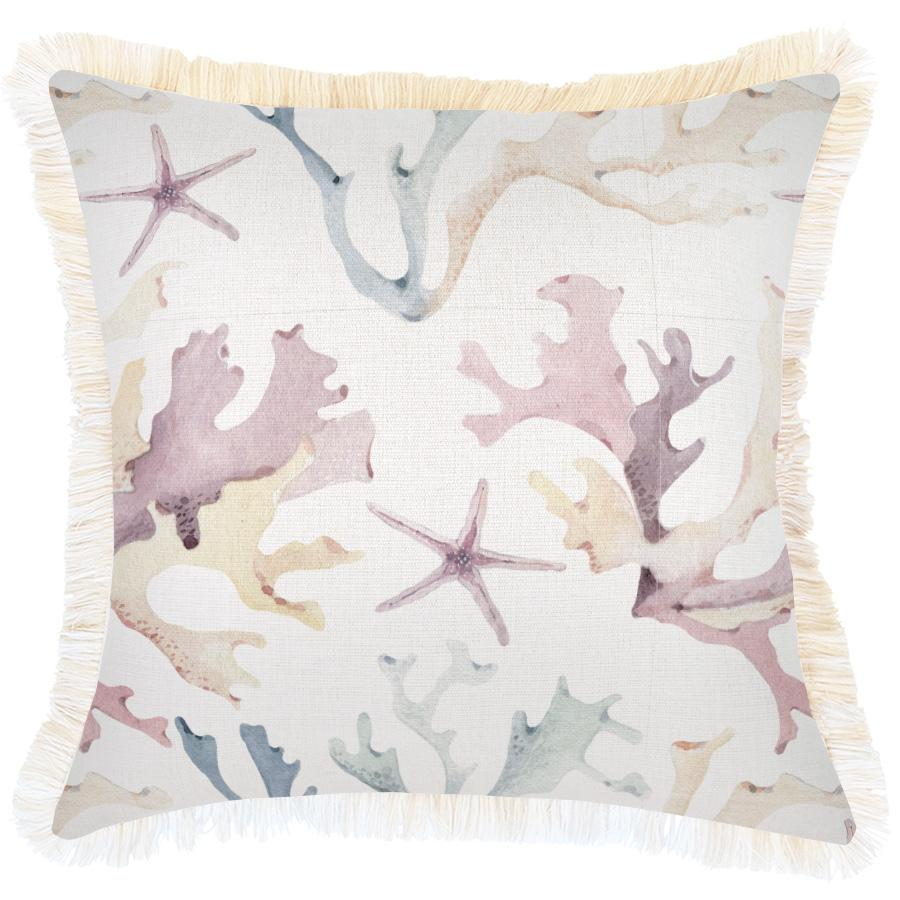 Cushion Cover-Coastal Fringe-Coral Coast-45cm x 45cm