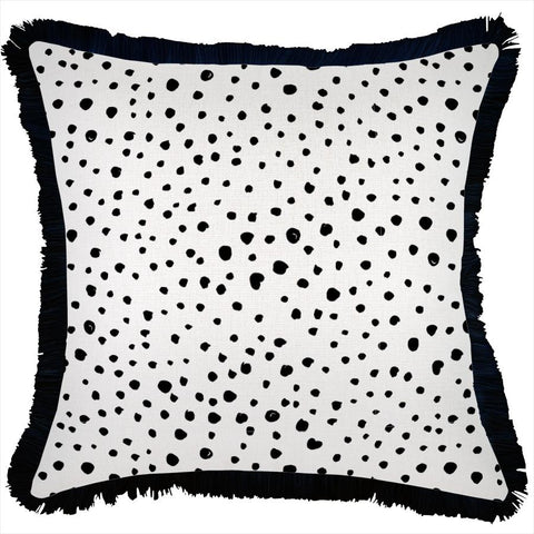 Cushion Cover-Coastal Fringe Black-Milan Black-45cm x 45cm