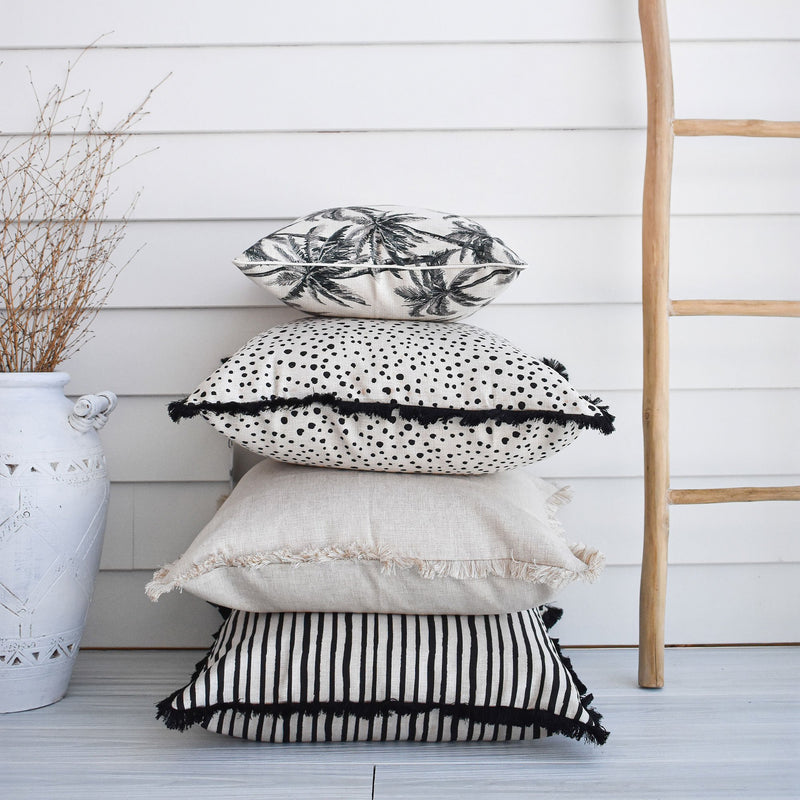 Cushion Cover-Coastal Fringe Black-Lunar-60cm x 60cm