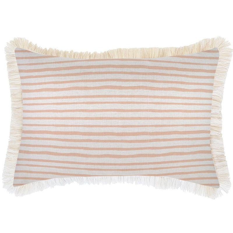 Cushion Cover-Coastal Fringe-Paint Stripes Blush-35cm x 50cm