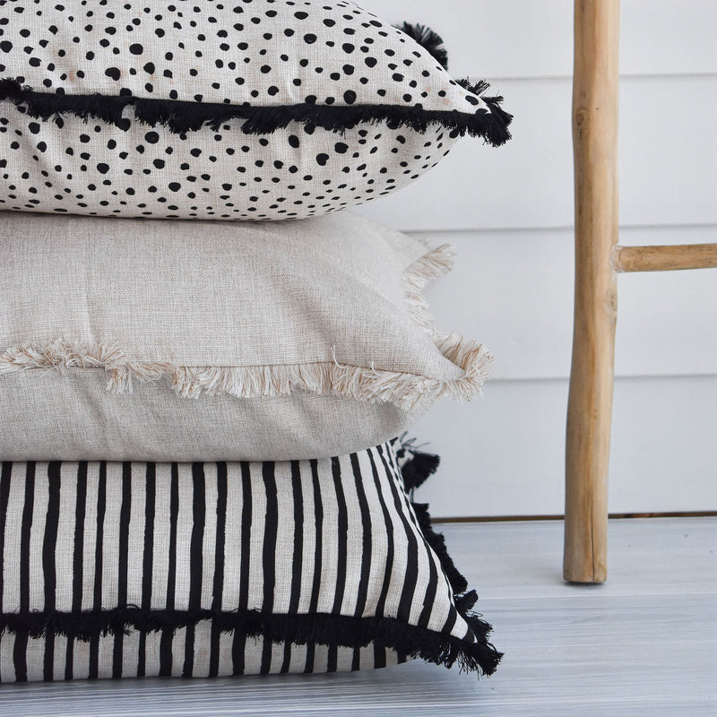 Cushion Cover-Coastal Fringe Black-Paint Stripes-60cm x 60cm