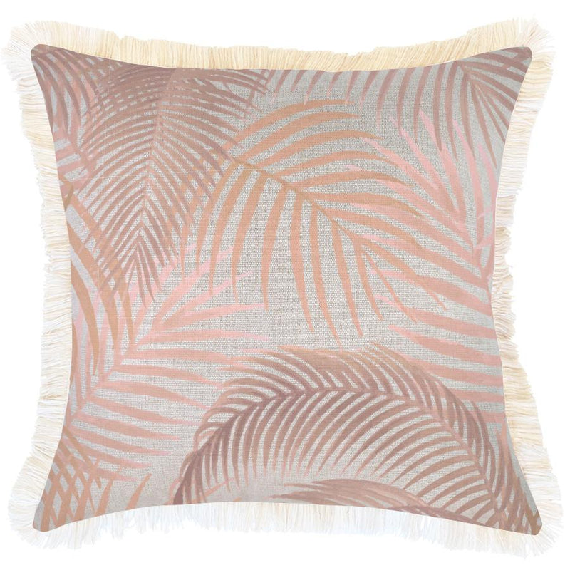 Cushion Cover-Coastal Fringe Natural-Seminyak Blush-45cm x 45cm