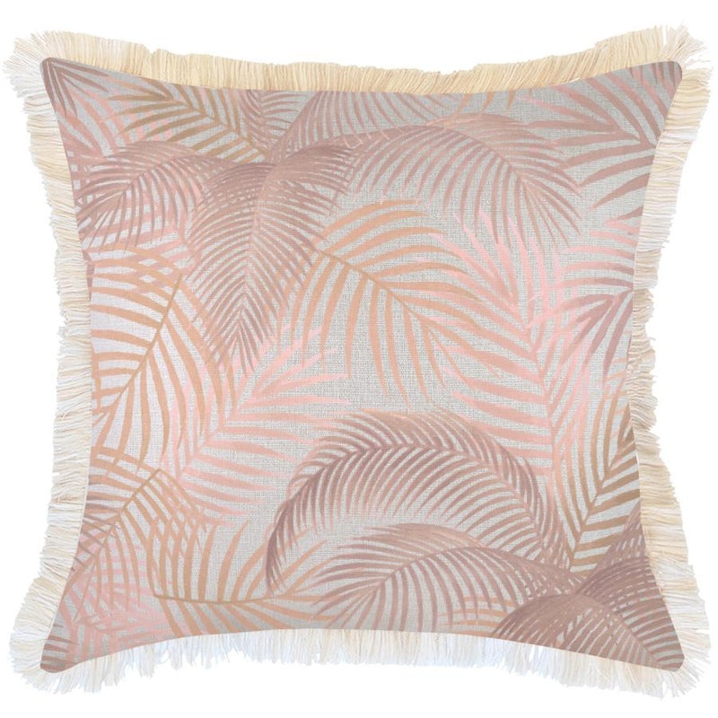 Cushion Cover-Coastal Fringe Natural-Seminyak Blush-60cm x 60cm
