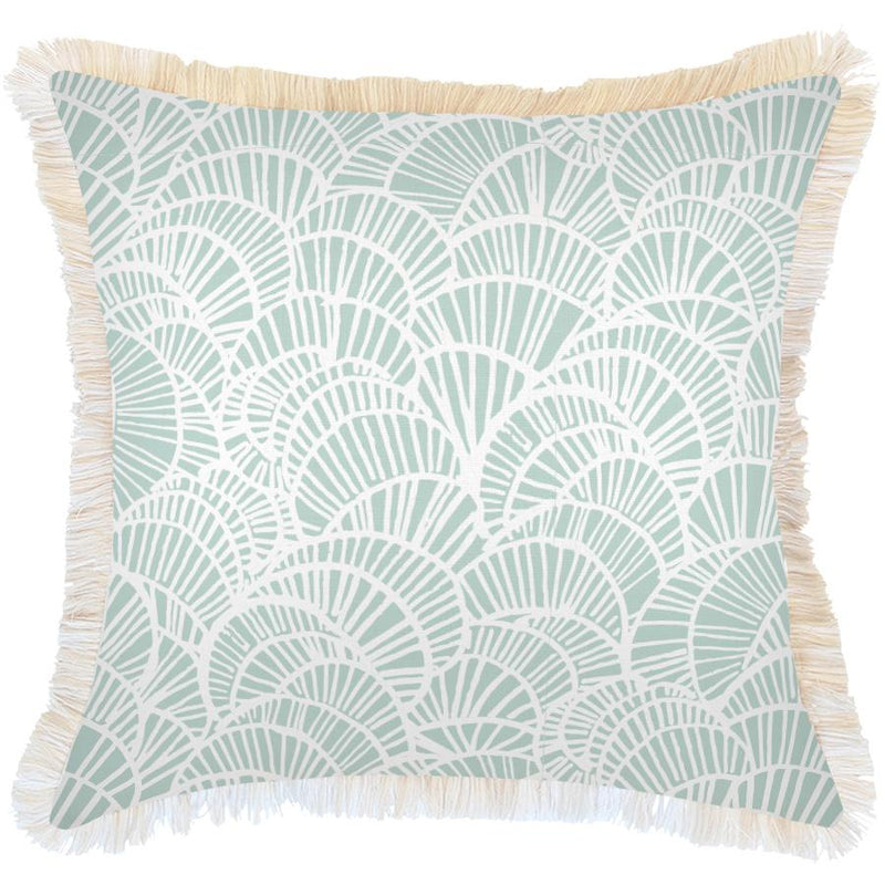Cushion Cover-Coastal Fringe Natural-Positano Pale Mint-60cm x 60cm