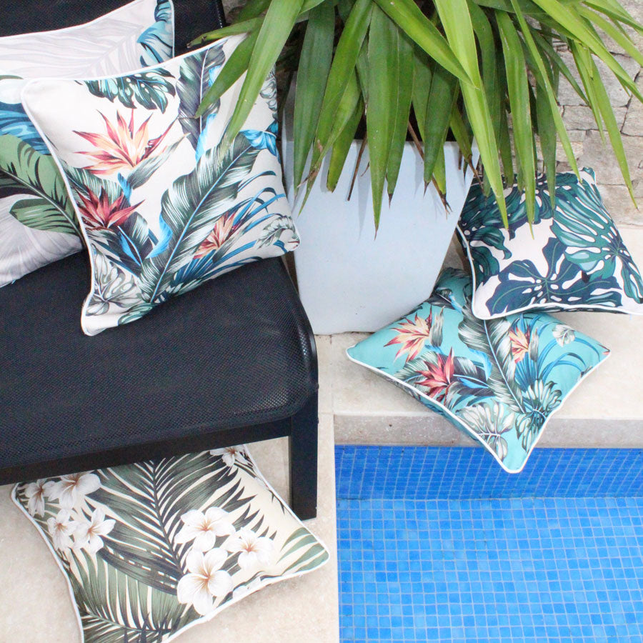 Cushion Cover-With Piping-Tropical Paradise Natural-45cm x 45cm