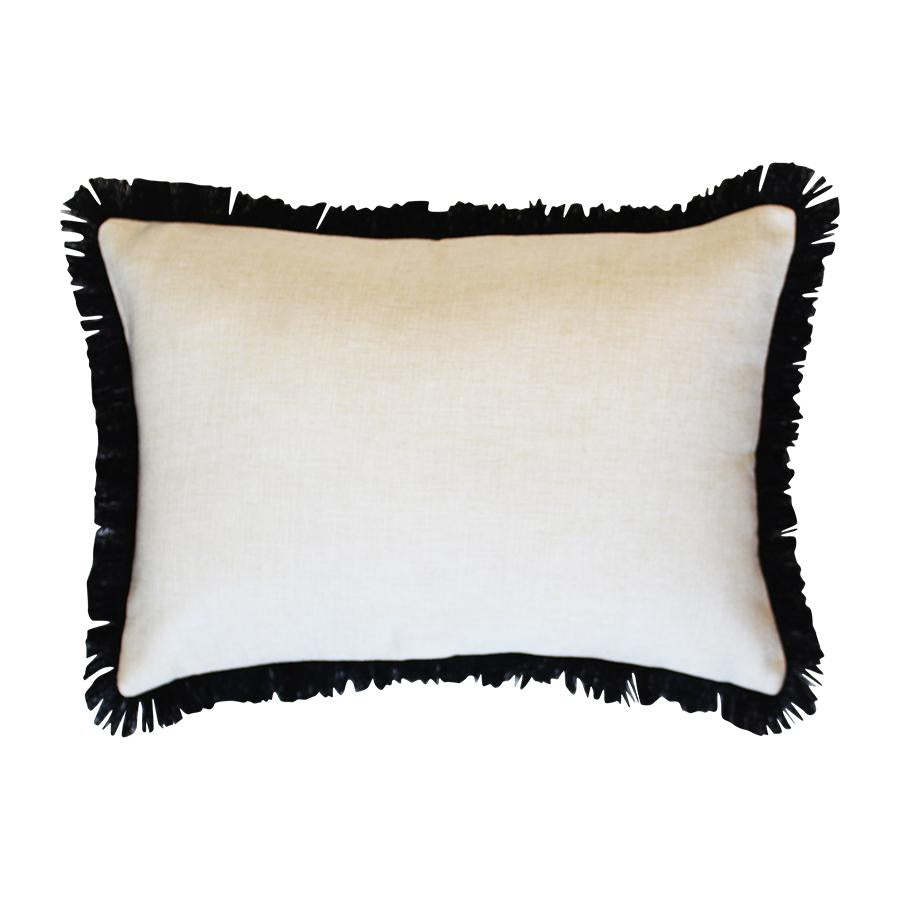 Cushion Cover-Coastal Fringe Black-Solid Natural-35cm x 50cm