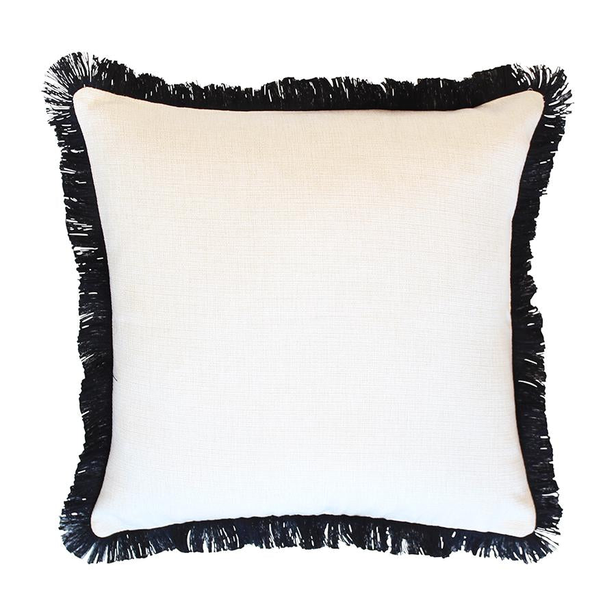 Cushion Cover-Coastal Fringe Black-Solid Natural-45cm x 45cm