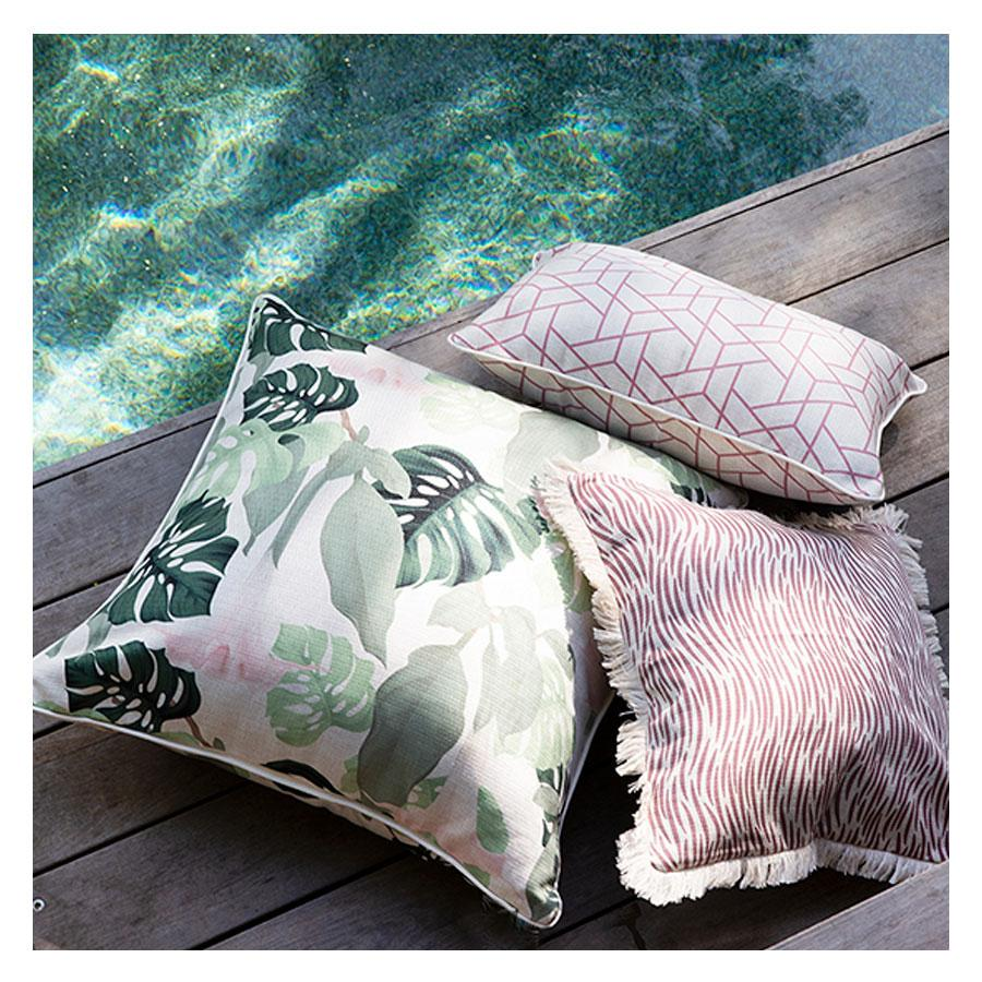 Cushion Cover-Coastal Fringe-Wild Rose-60cm x 60cm