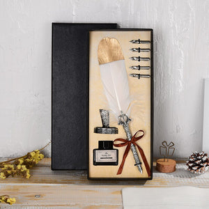 Quality Quill - Feather Pen + Ink Set