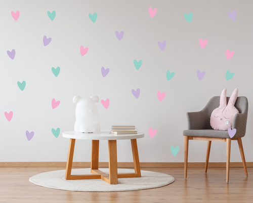 Pastel Hearts Wall Decals-Wall Decals-AnaJosie Designs
